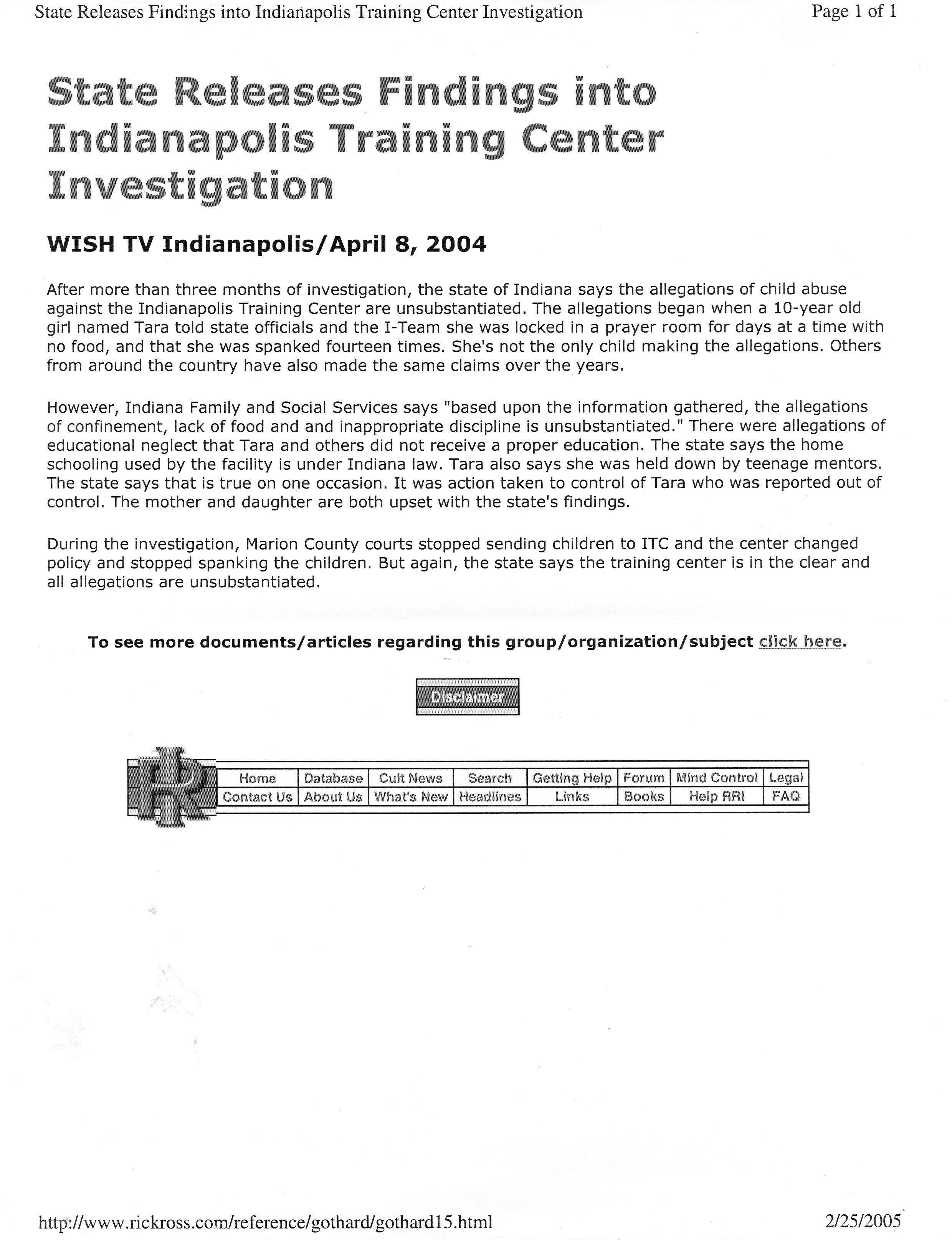State of Indiana Investigation into the ITC