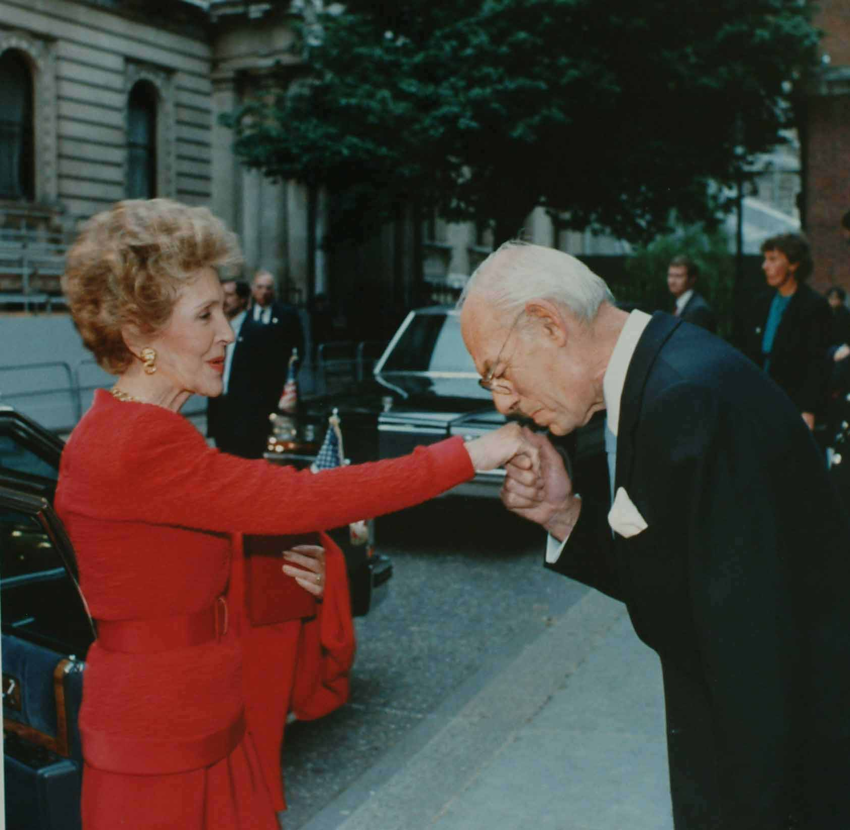 Thatcher Kisses Reagan